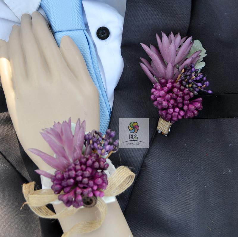 Handmade Wedding Corsage Groom Boutonniere Bride Bridesmaid Wrist Flower Artificial Flowers Wedding Supplies Succulent plants