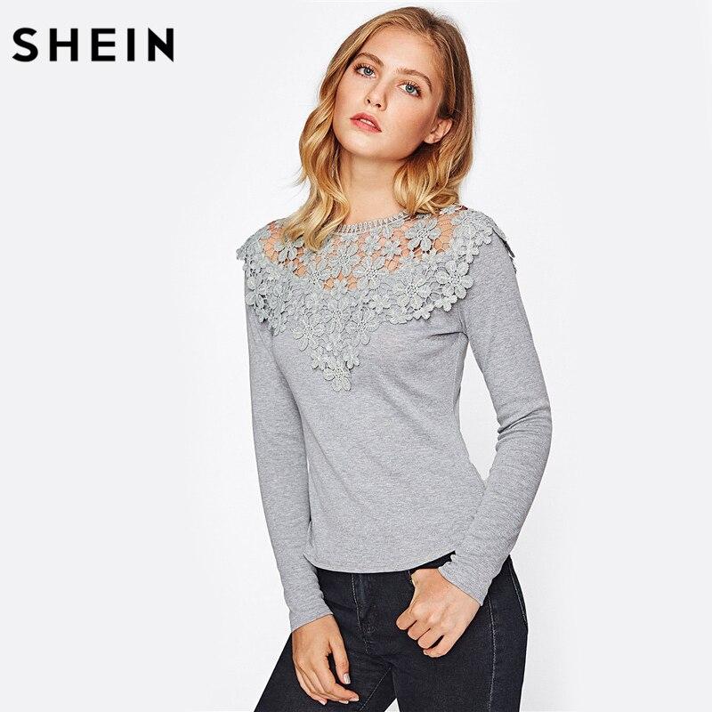 SHEIN Guipure Lace Yoke Slim Fit Heathered Tee Autumn Sexy T shirt Women Long Sleeve Grey Crew Neck Elegant T-shirt heathered crew neck tee