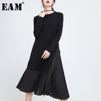 [EAM] 2018 new spring round neck long sleeve black pleated irregular split joint solid color dress women fashion tide JE19401