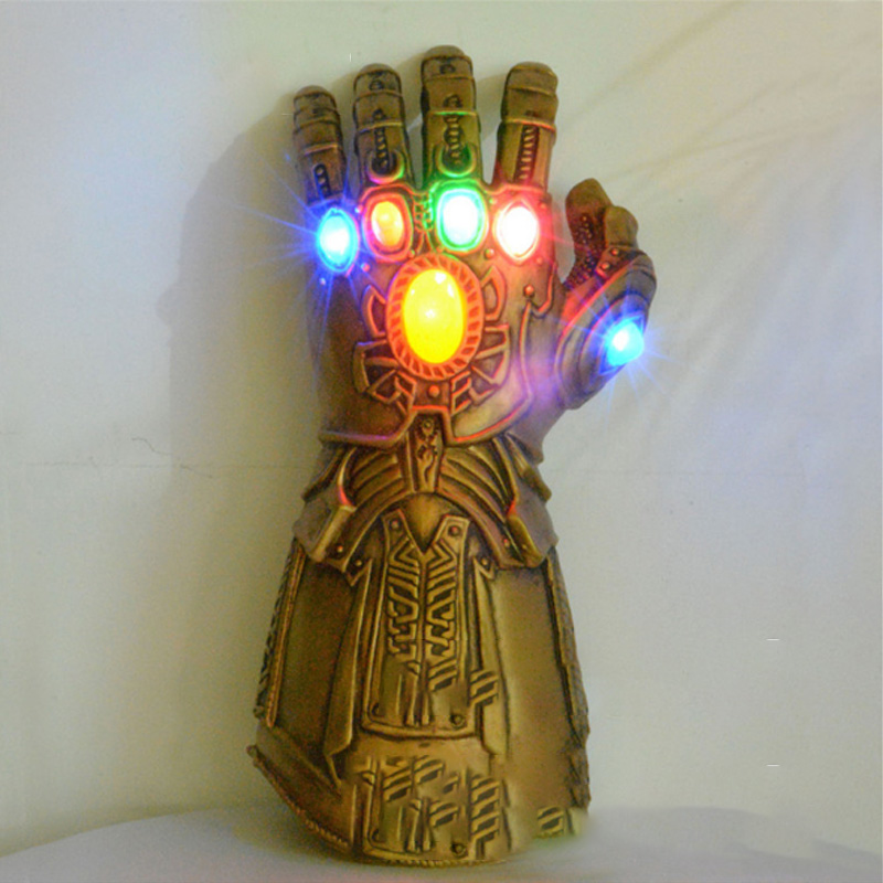 New Thanos Infinity Gauntlet Marvel Avengers Endgame Superhero  Avengers LED Glove Cosplay Gloves Kids Adult Snap Mittens Toy