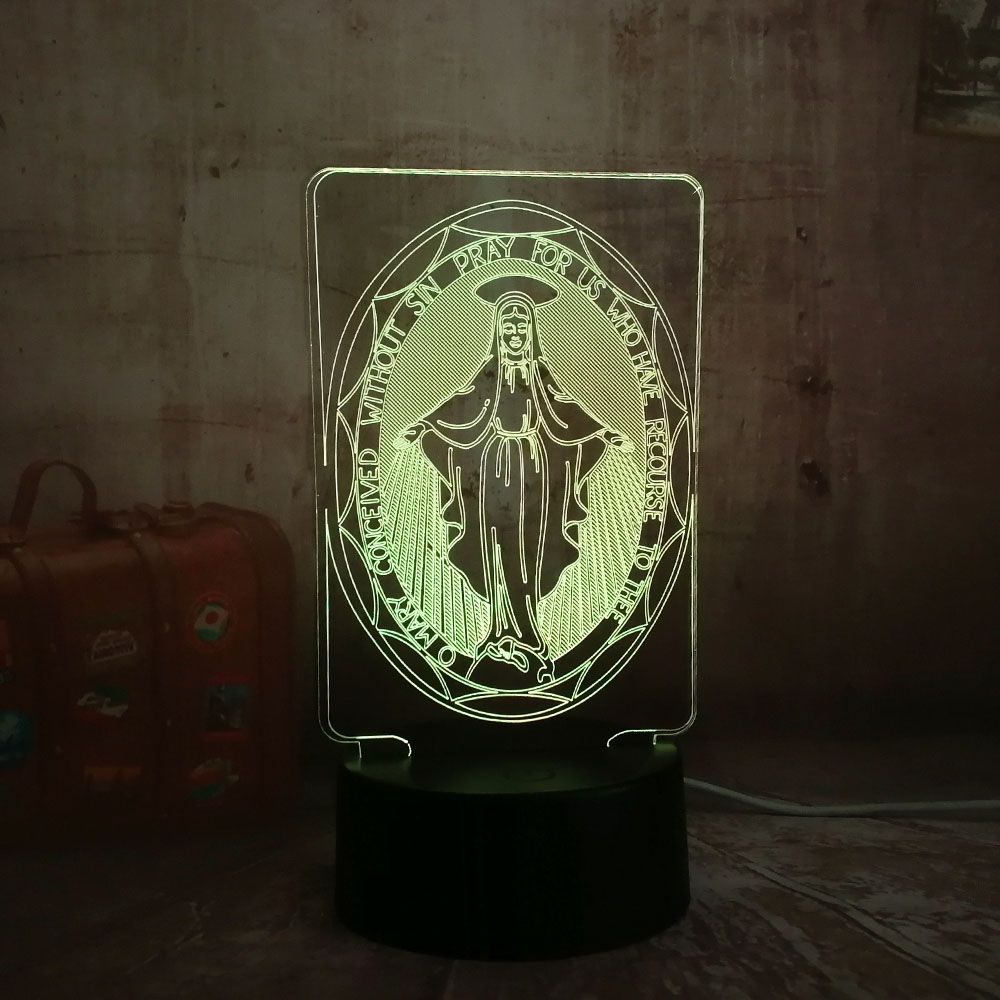 The Virgin Mary 3D LED Desk Table RGB Controller 7 Color USB Night Light Novelty Lighting Portable Lantern Downlight Adapter