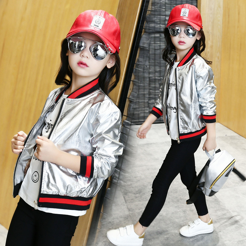 New Arrival Kid Baseball Coat 2016 Autumn Fashion Girls PU Coat Toddler Silver Jacket Big Brand
