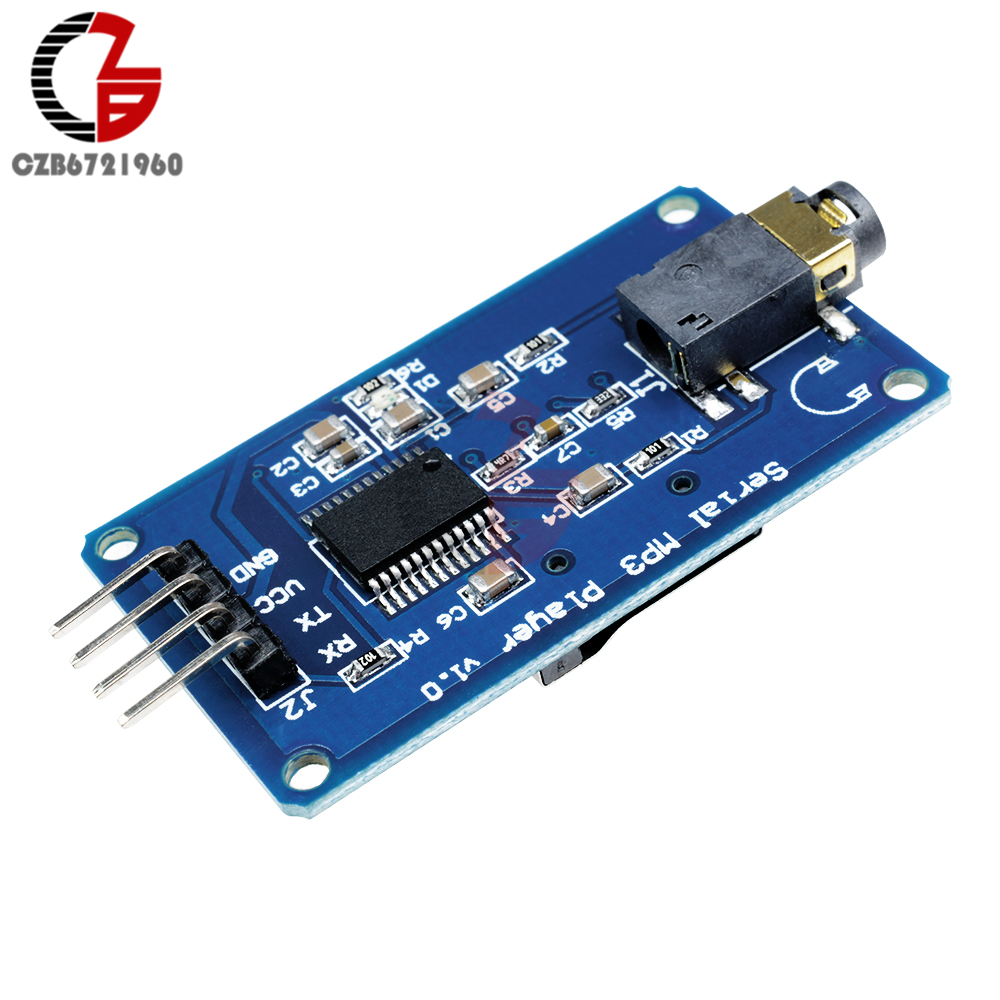 DC 3.2-5.2V YX5300 UART TTL Control Serial MP3 Music Player Module Support MP3/WAV Micro SD Card For Arduino/AVR/ARM/PIC CF momentary button tact switch module w cap for arduino avr arm pic blue white