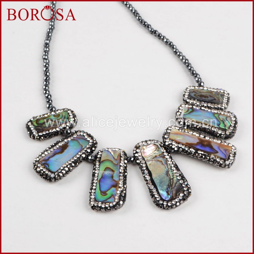 BOROSA Popular Beaded Necklace Rectangle <font><b>Vibrant</b></font> <font><b>Natural</b></font> Abalone Shell Rhinestone Pave & 3mm <font><b>Black</b></font> Beads Necklace Druzy JAB575