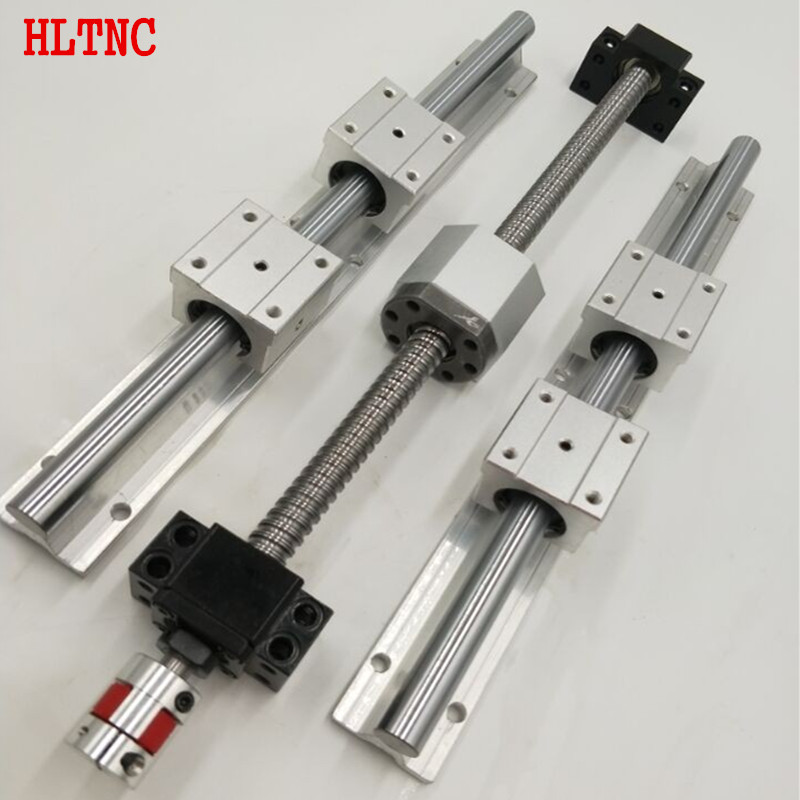 6 SBR20-300/1000/1500 Linear guide sets + 4 x SFU2010-350/1050/1550/1550mm Ballscrew sets+ 4 BKBF15 +4 nut housing+4 couplings цена