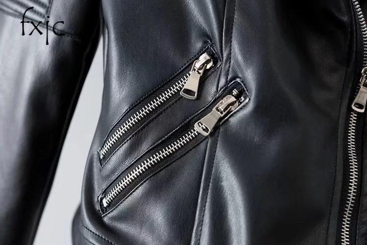 2018 Femmes En Nouvelle Noir Manches De Mode Cuir Longues Printemps Zipper Col À Montant rwqI1r