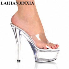 LAIJIANJINXIA NEW Sexy Clear Pvc Women Slippers 15Cm Plastic High Heels Open Toe Platform Shoes Outdoor Slides Mules Slippers