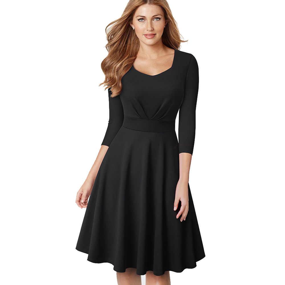 """Женское однотонное деловое платье Nice-forever, винтажное и элегантное платье-колокол для офиса, расширяющееся книзу, черного или красного цвета в стиле """"ретро"""" со свободным кроем,A132"""