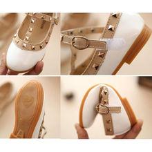 Bekamille Hot Children Princess Flat Shoes Children Girls Rivets Single Shoes Kids Leather Shoes Girls Shoes sandals