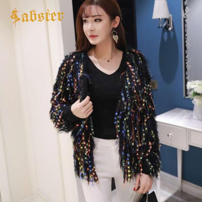 Multicolour Knitted Tassel Sweater Cardigan Outerwear Female Knitted Cardigan Fleece Jacket Tops Long Hair Outwear Kz624