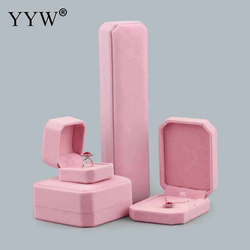 10Pcs/Lot Fashion Pink Velvet Jewelry Box Earrings Bracelet Ring Necklace Pendant Box Case Organizer Women Jewelry Gift Boxes