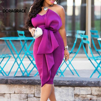 Doragrace New Fashion vestidos de festa Ruffles Tea Length Women Bodycon Pencil Dress Short Party Dress Cocktail Dresses Purple
