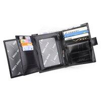 Travel Passport Credit Card Holder Document Coin Purses Black Real Genuine Leather Wallets Men Billetera Portefeuille