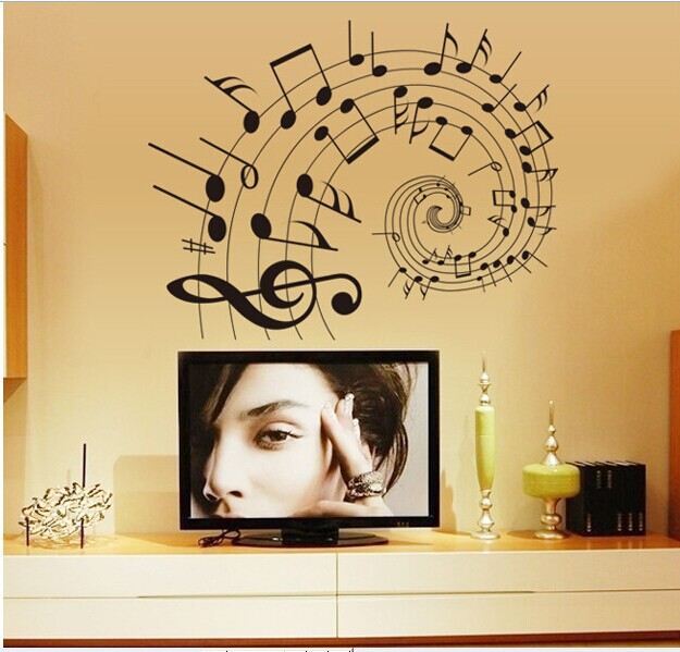 60*90CM Removable Music Wall Stickers Home Decor Living Room Sound ...
