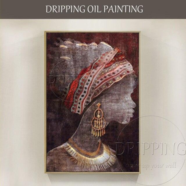 Amato Dipinta A mano Moderna Wall Art Donna Africana Dipinti di Figura  NK83