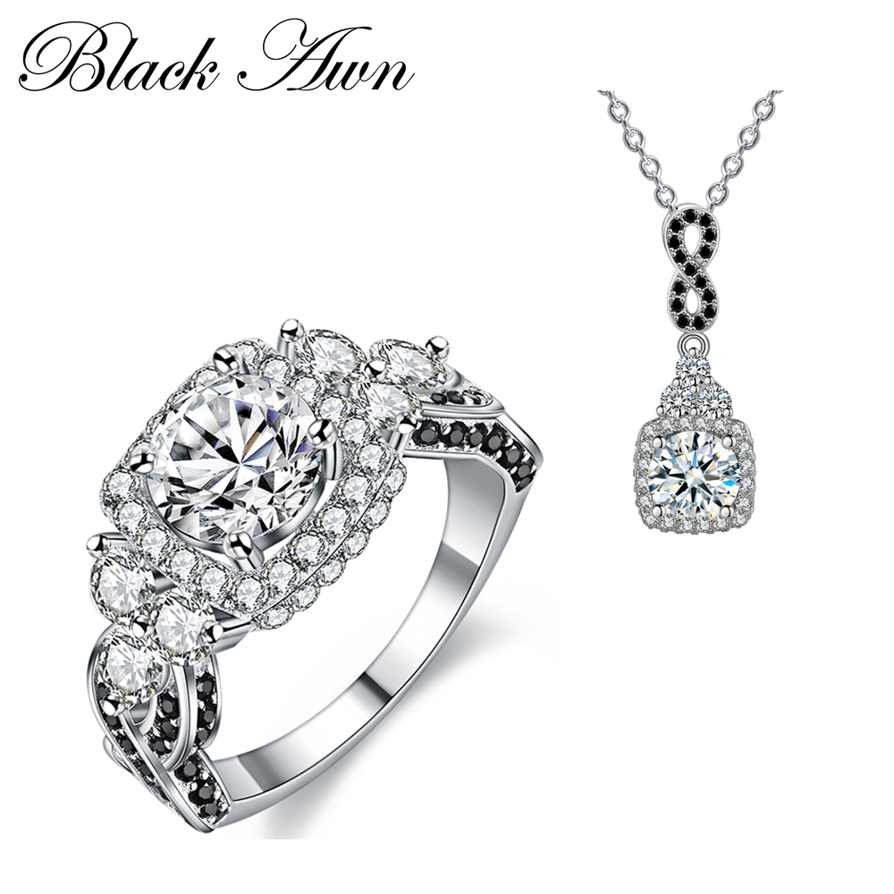 [BLACK AWN] 925 Sterling Silver Fine Jewelry Sets Trendy Engagement Sets Wedding Necklace+Ring for Women PR152 [black awn] 925 sterling silver fine jewelry set trendy engagement wedding necklace earring for women pt161