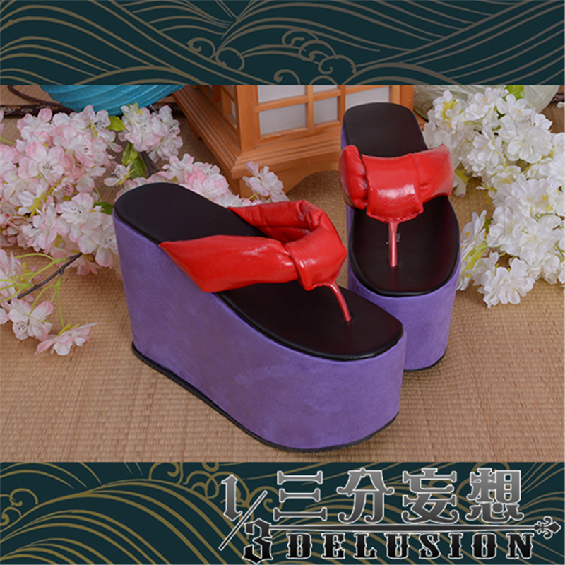 High Heel Shoes Slipper Purple Flip Flop Onmyoji Cosplay Shies cos