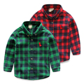 100% cotton baby long-sleeve shirt 2017 children's child clothing spring top plaid shirt male child