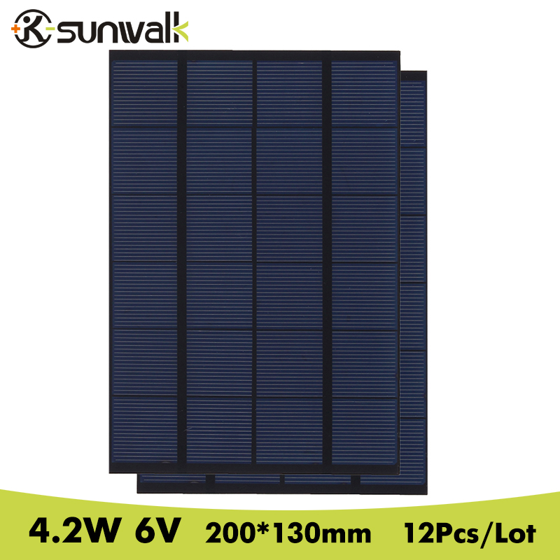 SUNWALK 12pcs 4.2W 6V Mini Solar Cell Panel Polystalline 700mA Solar Panel Module Solar System for Test and Education 200*130mm
