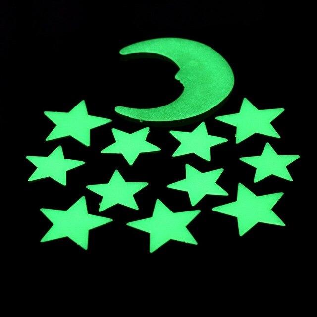 1 Компл. 12 шт. Звезды Луна Светятся В Темноте Люминесцентные наклейка Пластиковые Наклейки На Стены декора Дома стикера Украшения adesivo де parede