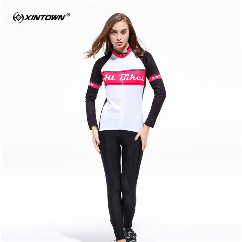 XINTOWN Refreshing Long Sleeve font b Cycling b font font b Jersey b font Set W