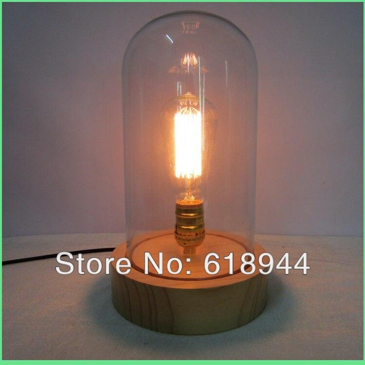 Творческих и модных стекло-дерево настольная лампа Ночной свет кафе-бар украшения современные лампы дизайн прозрачного стекла, настольные ...