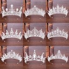 Newest Crystal Crown Tiara Wedding Hair Accessories Bridal Silver Headpiece Luxurious Pearl Diadem