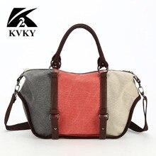 KVKY hobos bolsas de las mujeres de Lujo de alta calidad de la lona bolsos famoso diseñador de la marca de hombro de las señoras bolsa de asas casual bolsas de mensajero