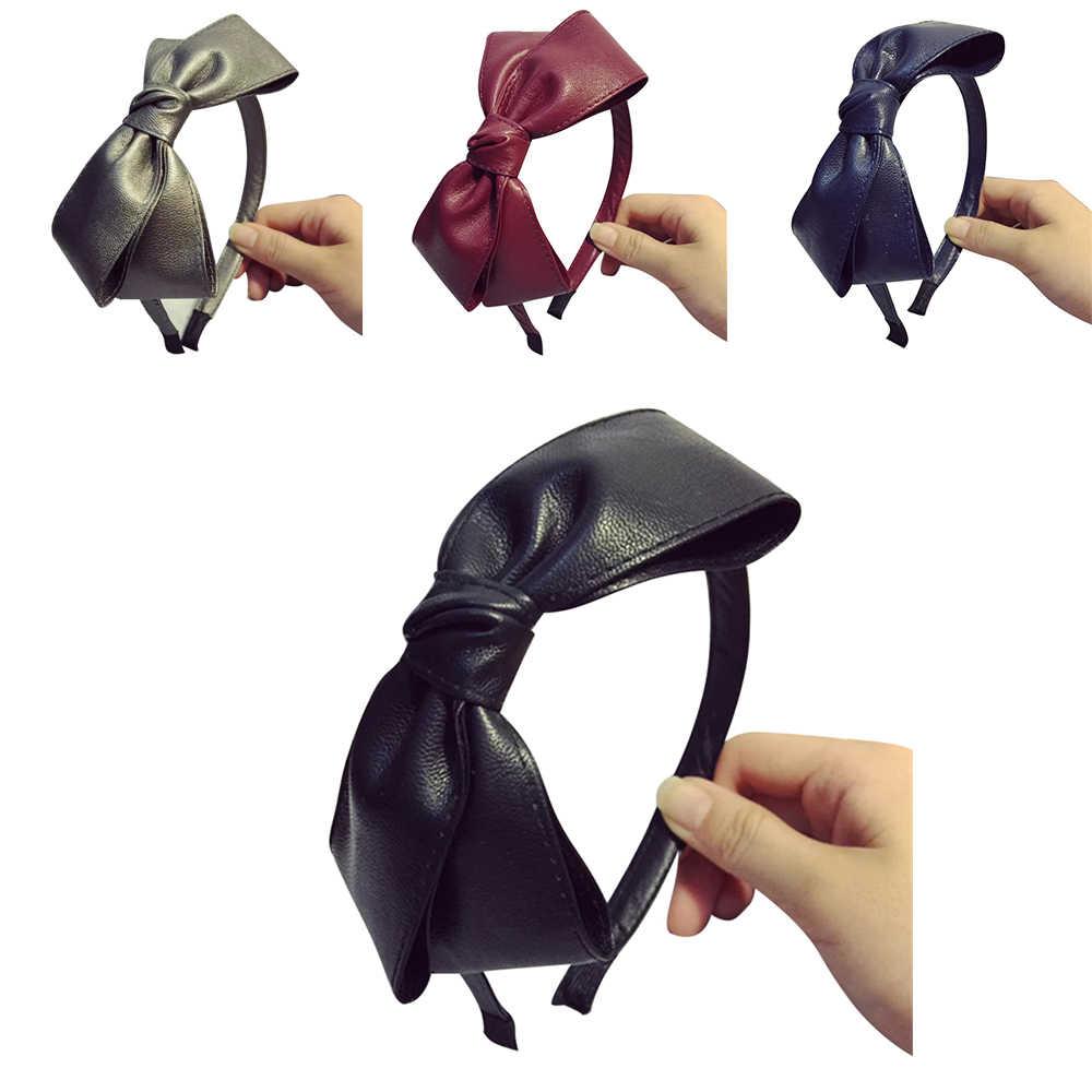 女性ビッグボウノットヘアバンドツイストクロスレザー Headwrap ヘアバンドフープブランド新