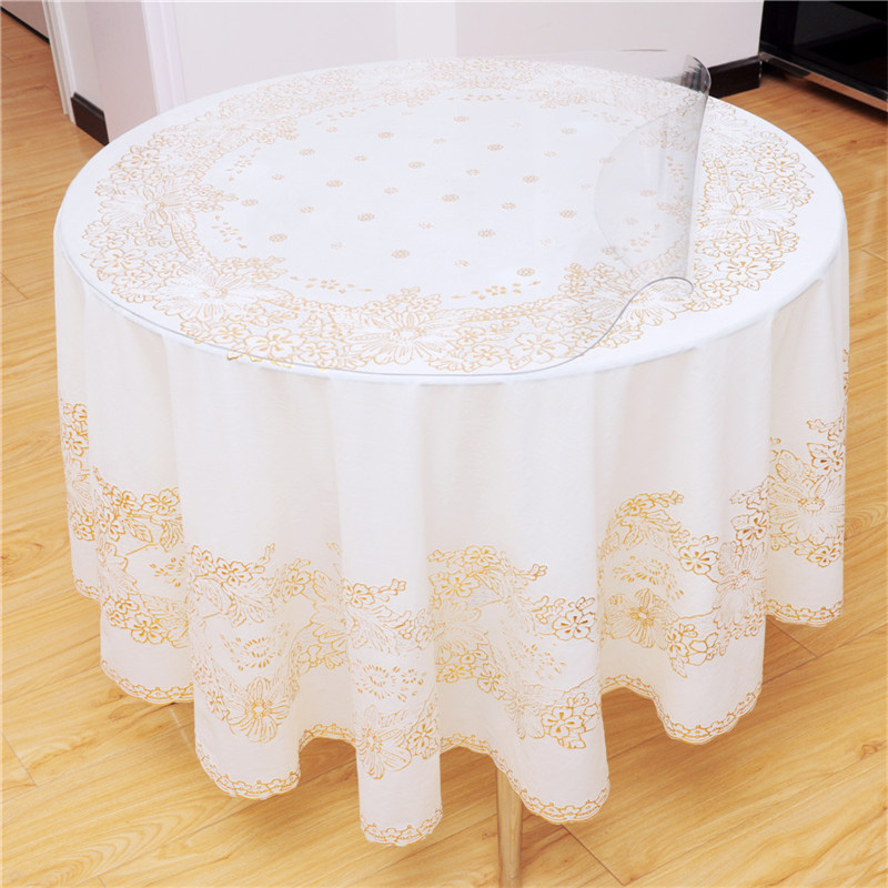 Round table cloth waterproof disposable oil western table cloth bronzier square table cloth soft glass transparent crystal plate