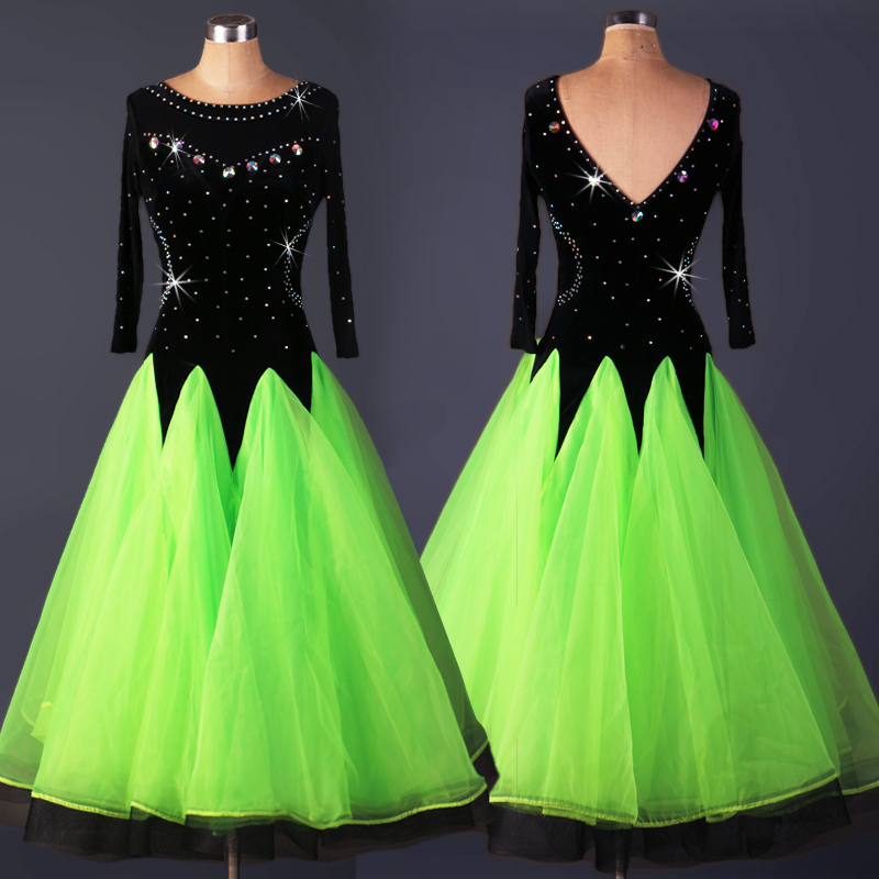 bd2a95a930b7 On Sale viennese waltz dress green black ballroom dresses woman waltz  ballroom dance waltz dresses size S,M,L,XXL,XXXL