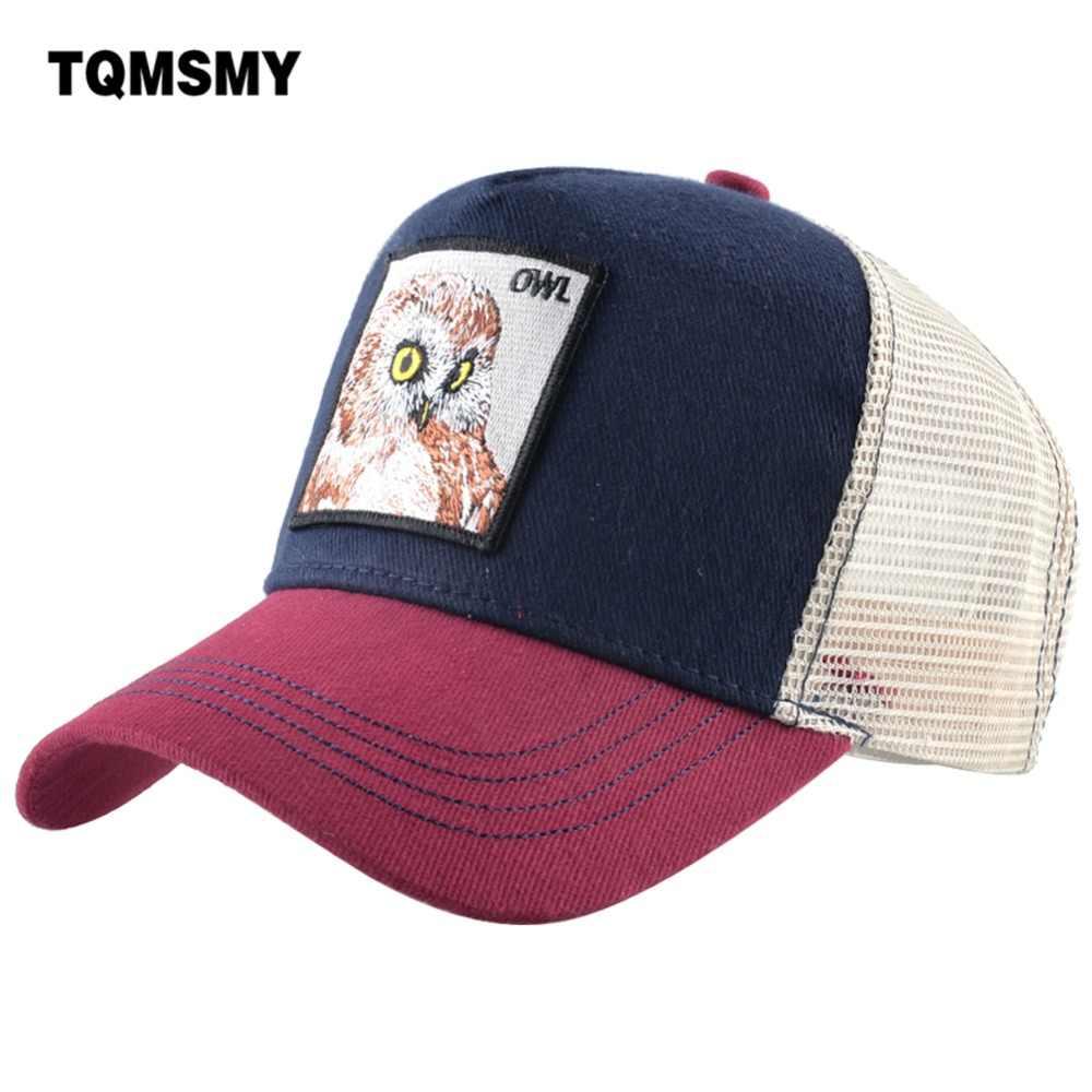 909c4540fbd TQMSMY Cool Male Baseball Cap Embroidery Owl Cotton Mesh Hats For Men Women  Snapback Trucker hats