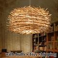 Novidade Lâmpada Nordic Criativo Madeira pingente Luzes 220 v E27 Lâmpada Ninho de Pássaro Gaiola Com Lâmpadas Incandescentes Para A Luz Em Casa
