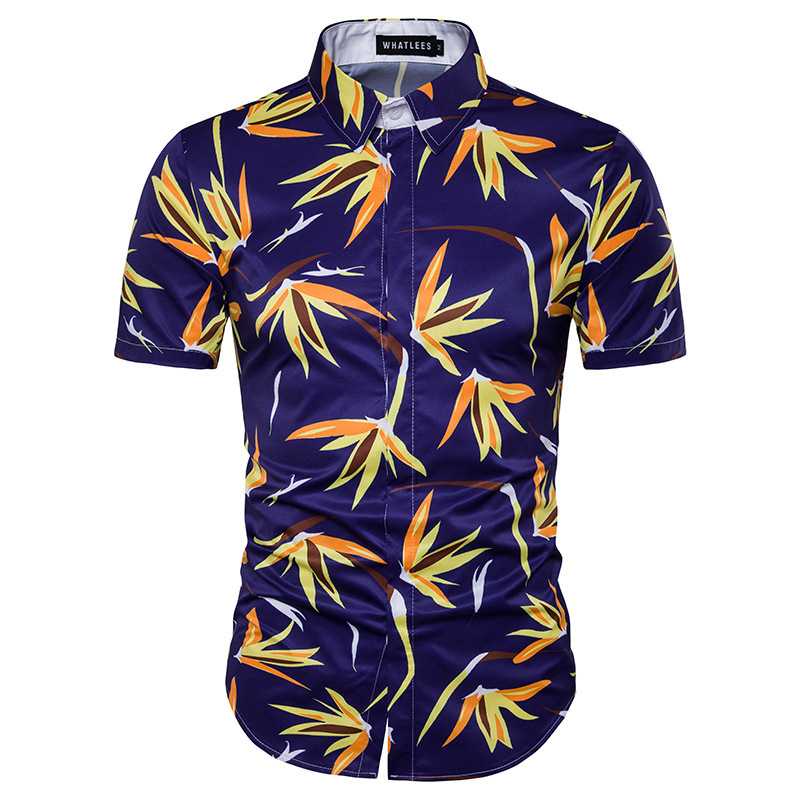 Mens shirts big sizes men 39 s fashion breathable and for Mens slim hawaiian shirt