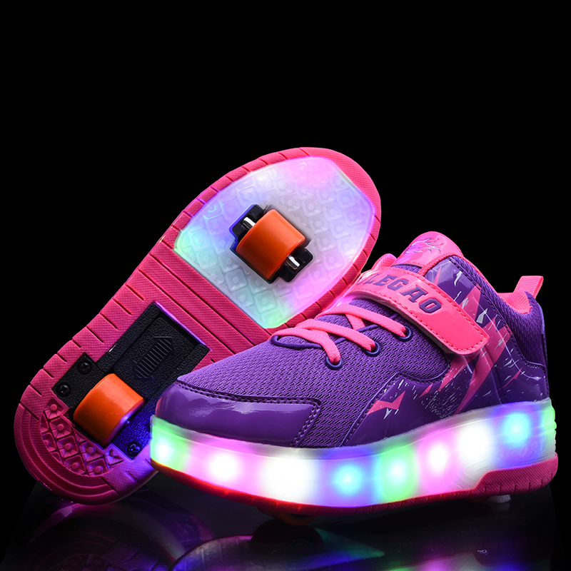 New Blue Purple USB Charging Fashion Girls Boys LED Light Roller Skate Shoes For Children Kids Sneakers With Wheels Two Wheels