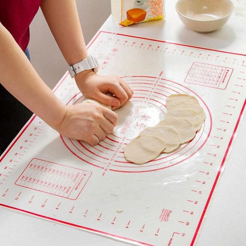 60x40 cm Pieghevole Ad Alta Temperatura Fibra di Vetro Silicone Dough Mat Rotolamento di Taglio Della Torta Del Fondente Pasta Mat Con Scala