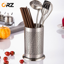 ORZ cocina vajilla de acero inoxidable tubo de almacenamiento estantes palillos  cuchara Tenedor de drenaje soporte de almacenami. 49191a871842