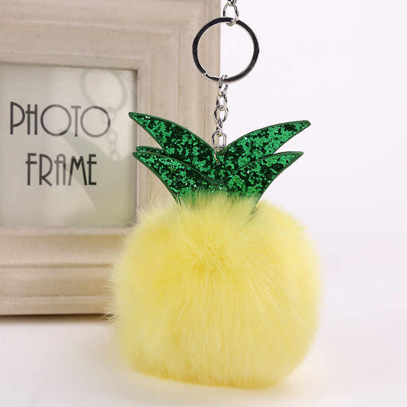 Модные Симпатичные ананас с помпоном из меха кролика брелок для ключей помпон сумка с изображением листочка подвеска автомобиль ключ кольцо в виде звеньев, украшенное кристаллами держатель для женщин 8 видов цветов