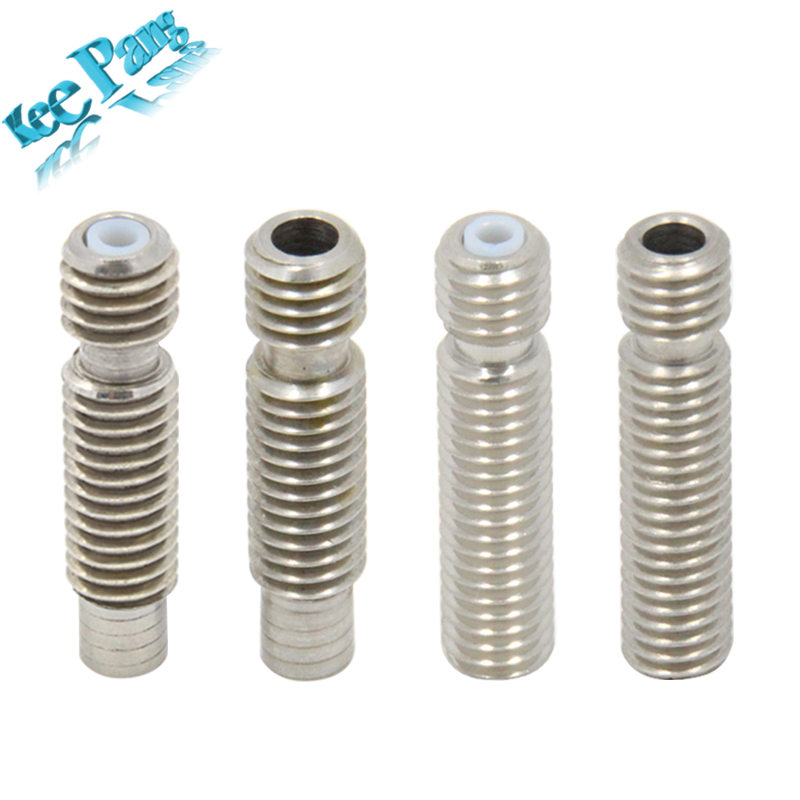 5pcs/lot V5 Stainless Steel Throat M6*26 With Teflon Tube Thread For 1.75mm 3mm Filament 3D Printers Parts All Metal Part 10pcs lot high quality 3d printer spare parts m6 26 3d printer e3dv5 nozzle throat with teflon tube
