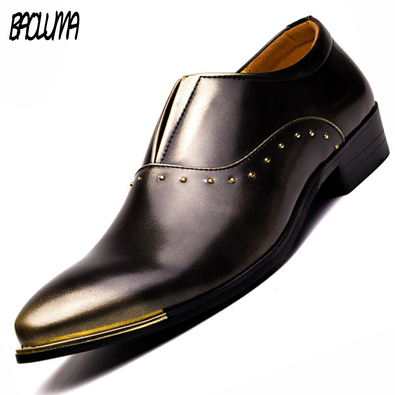 BAOLUMA Men Shoes Slip On Formal Shoes Pu Leather Oxfords Pointed Toe Men Dress Shoes Business Wedding Mens Pointy Shoes pointed toe men dress oxfords shoes italian leather male wedding party formal shoes black slip on fashion design business shoes