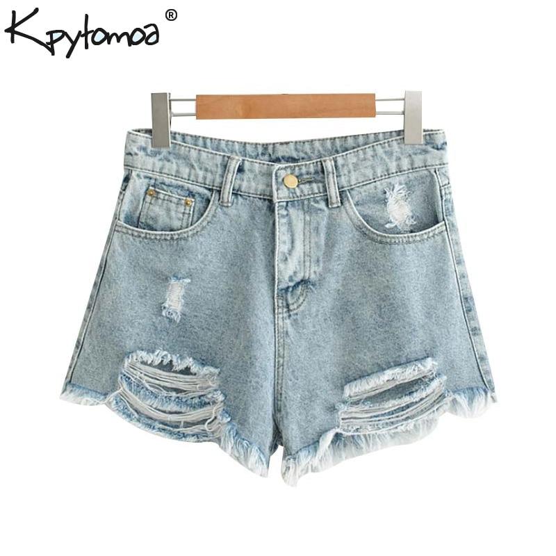 Vintage Sexy Tassel Frayed Pockets Denim Shorts Women 2020 Fashion Zipper Fly Streetwear Short Pants Casual Pantalones Cortos