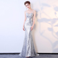 2017 Sexy Dresses Sequins Mermaid Womens Elegant Cosplay Costumes Evening Party Lace Formal Club Fall Fashion Winter Long Dress