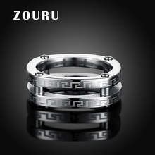 Brand New HotFashion Rings Square Stainless Steel Double Layers Finger Silver Great Wall Ring Men Jewelry