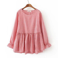 Spring Autumn Pink Ruffle Women Blouse Long Plaid Shirt Female Tops Korean Style Butterfly Long Sleeve