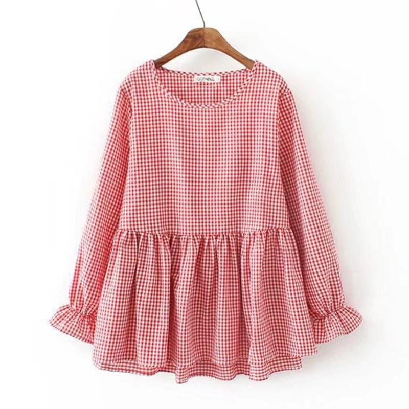 Women's Clothing Ubetoku 2018womens Autumn Blouse Shirt Sweet Ruffles Peter Pan Collar Plaid Tops Plus Size Women Clothing t180