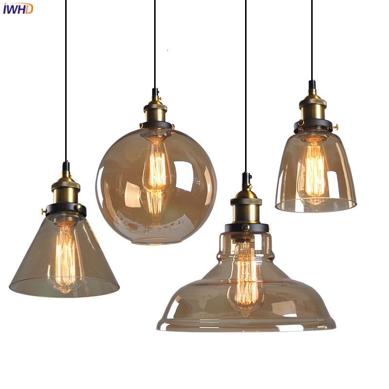 IWHD Loft Industrial Decor LED Pendant Lamp Dinning Room Glass Hanglamp Edison Vintage Pendant Lights Fixtures Lampara Colgante