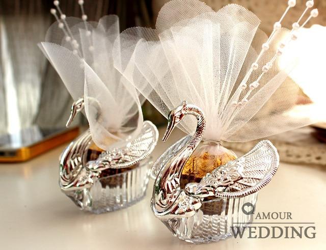 Swan Wedding Gift Return: European Styles Wedding Candy Box Acrylic Silver Swan