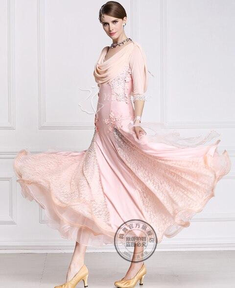 Personnaliser élégant rose à manches longues renard trot valse tango salsa compétition robe de danse de salon à la main perles