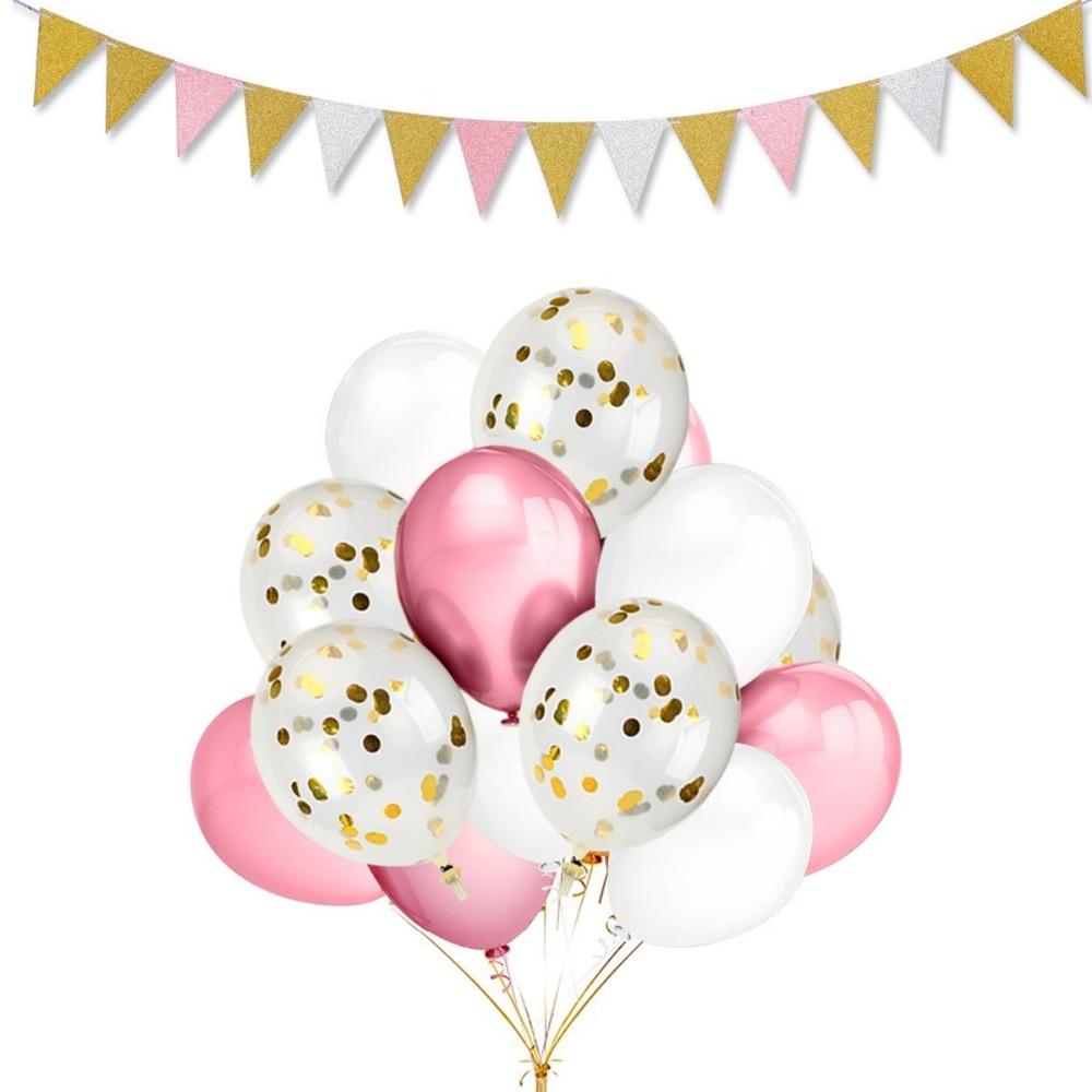 29 Teile Los 12 Inch Gold Konfetti Luftballons Pink White Farbe