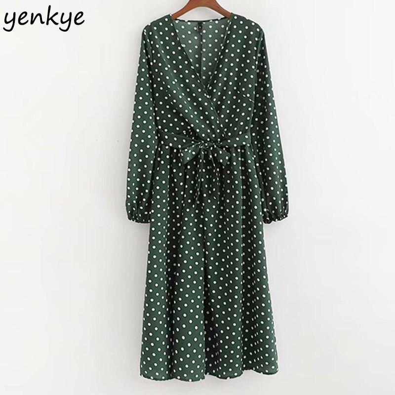 2019 Women Vintage Polka Dot Wrap Summer Dress Female V Neck Long Sleeve Sashes Midi Casual Dress XDWM2161